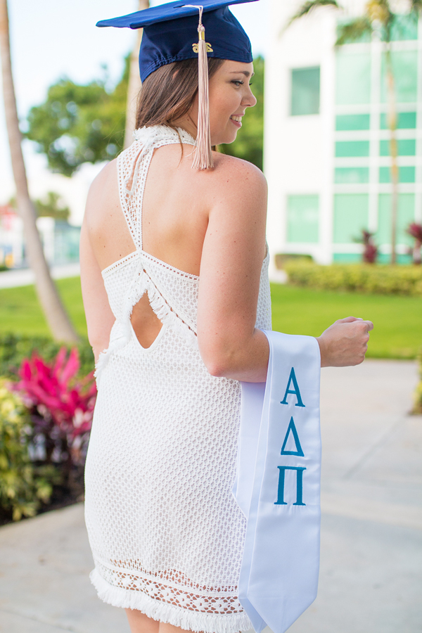Details of Saylor Clarissa dress with Alpha Delta Pi stole.
