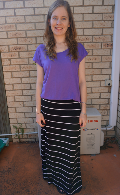 Post Baby Outfit Purple tee striped jersey maxi skirt casual SAHM