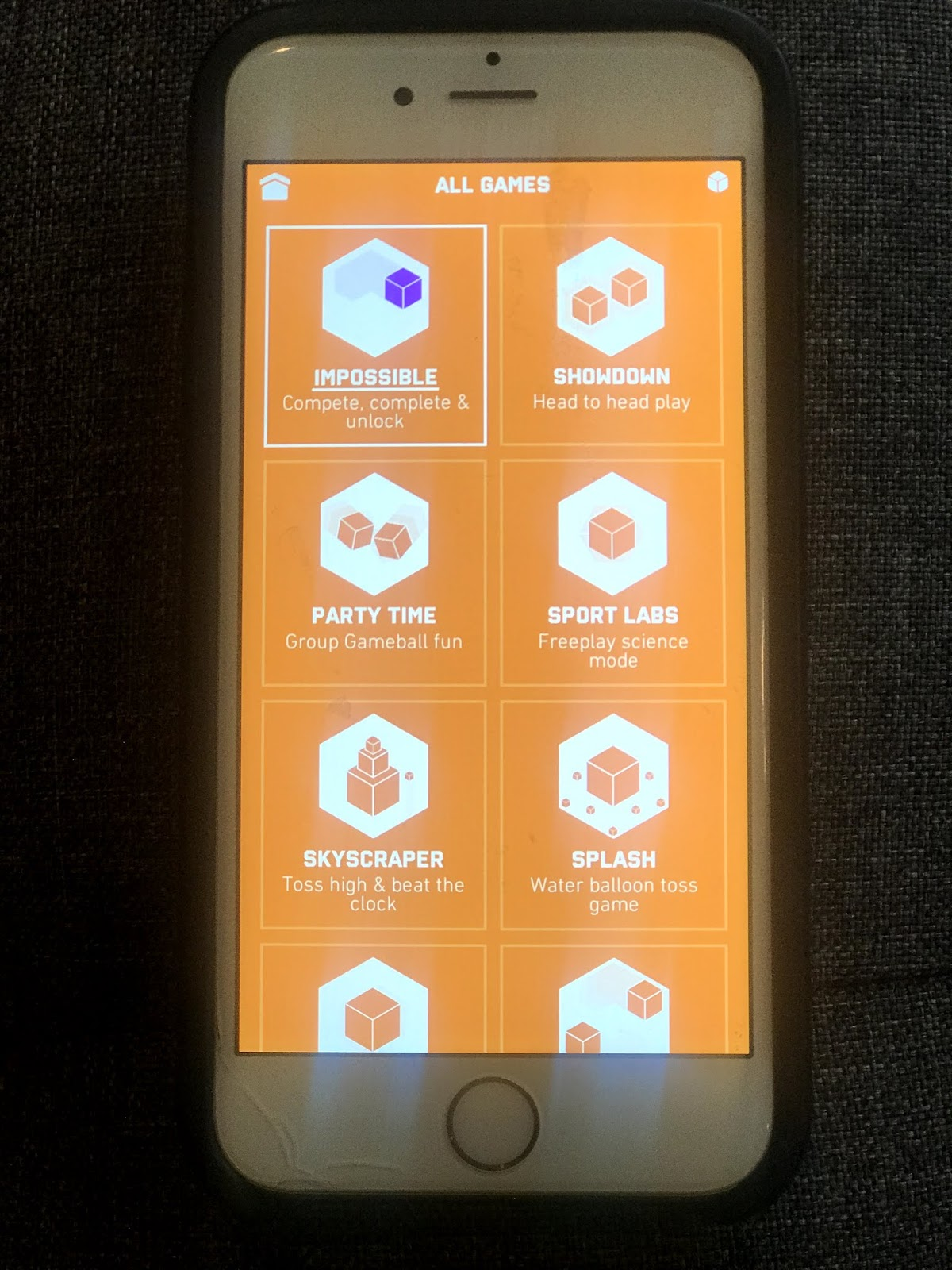 A photo of the Game possible screen app that shows the list of all the games.