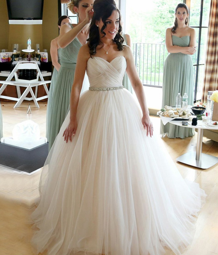 Sleeveless Simple & Casual Summer Winter Natural Sweetheart Ball Gown Spring Wedding
