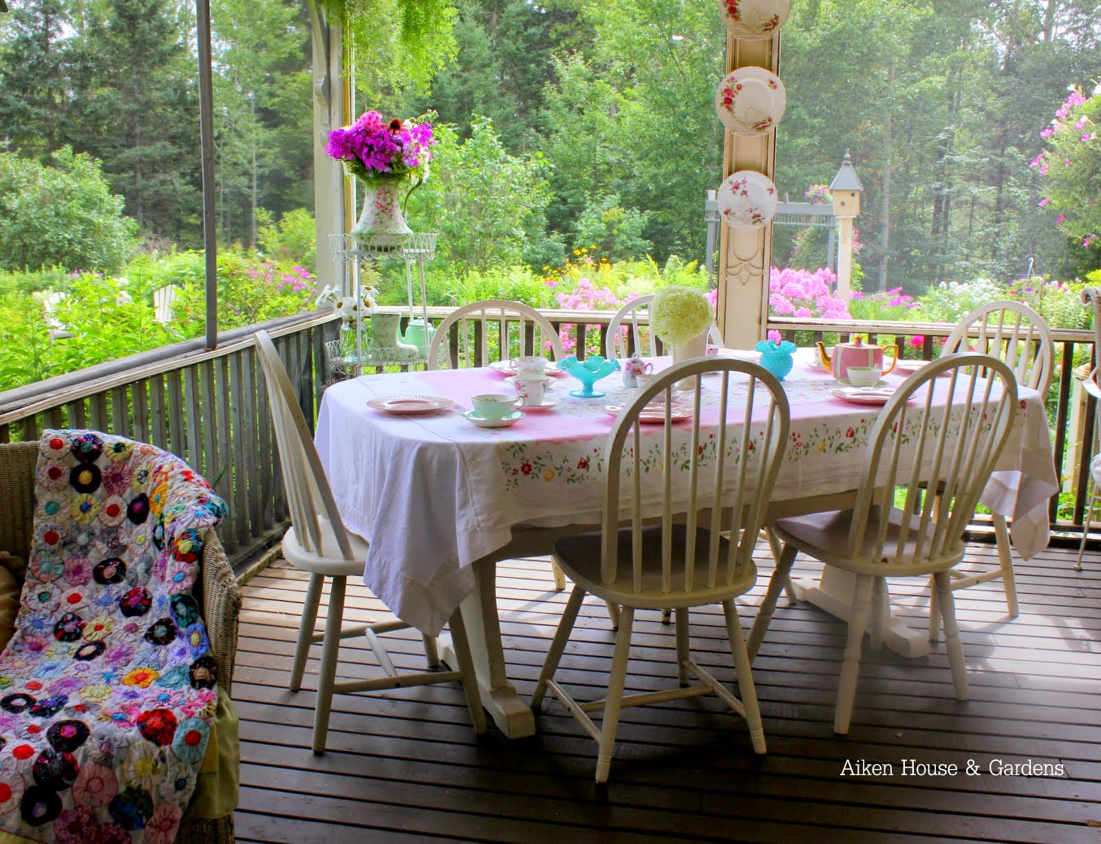 High Tea Afternoon Tea on the Porch with Table and Chairs and Flowers