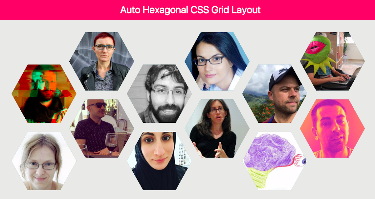 Auto Hexagonal CSS Grid Layout & CSS custom properties