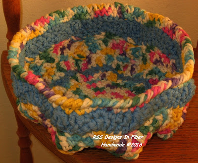 Closeup of Handmade Basket Empty showing inside colors and design - By RSS Designs In Fiber