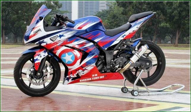 Modifikasi Airbrush Tanpa Stiker - Contoh Gambar Dan Foto Konsep Desain Modifikasi Kawasaki Ninja 4 Tak 250cc Sporti Ala Moge Keren Banget