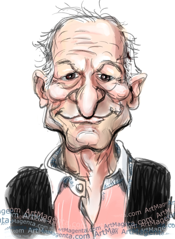 Hugh Hefner caricature cartoon. Portrait drawing by caricaturist Artmagenta