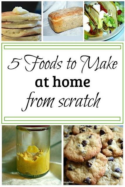 Lessen your dependence on the grocery store and save money by making these 5 foods at home from scratch. (They taste better too!)
