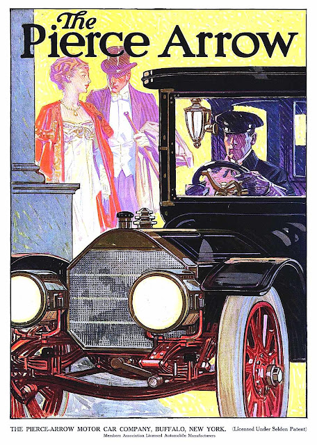 a 1910 Pierce Arrow ad illustration