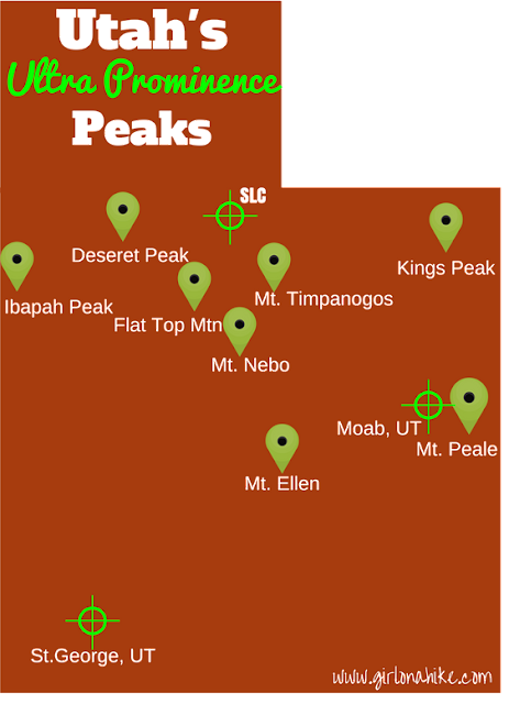 Map of Utah's 8 Ultra Prominence Peaks