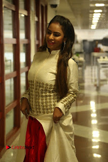 Telugu Actress Sri Reddy Mallidi Stills in White Beautiful Dress at Marriage Needs Bridal Fashion Week 2017 Logo Launch  0013.JPG