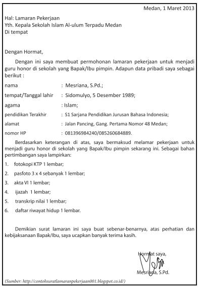 Menyimpulkan Isi Dan Sistematika Surat Lamaran Pekerjaan Zuhri Indonesia