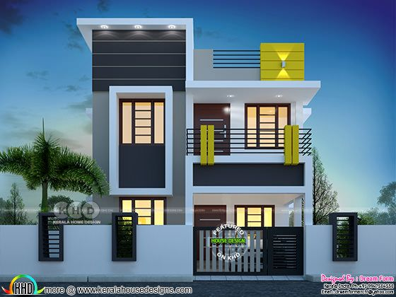 3 bedroom 1400 sq.ft cute budget home design
