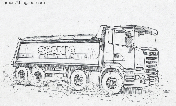 Familiar Trucks Around The World Scania Dup Truck Drawing In Paper Focused On Cartoonistic Expression Background Is That