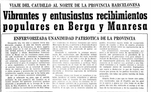 Berga y Manresa salen a la calle para vitorear a Franco.  La Vanguardia, 2 de julio de 1966