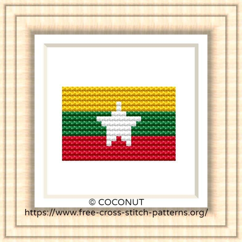 NATIONAL FLAG OF MYANMAR (BURMA) CROSS STITCH CHART