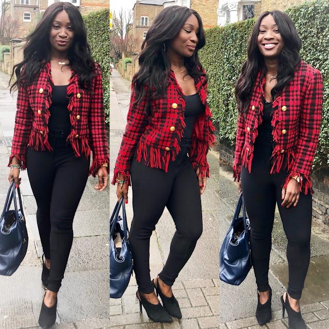 Red and black Boucle tartan blazer