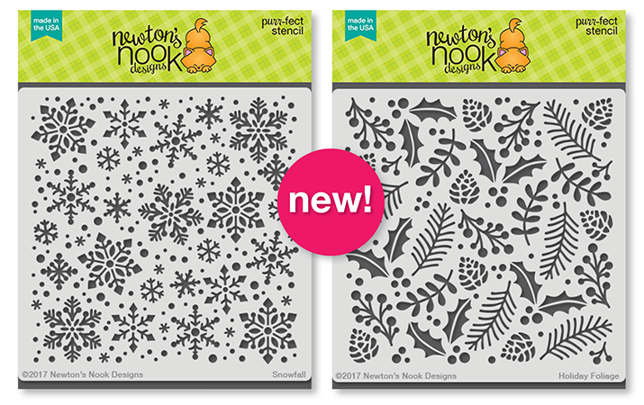 Snowfall and Holiday Foliage Stencils | 6x6 Premium Stencils by Newton's Nook Designs #newtonsnook