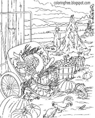 Drawing ideas autumn harvest complex vegetable plantation beautiful garden coloring pages for adults