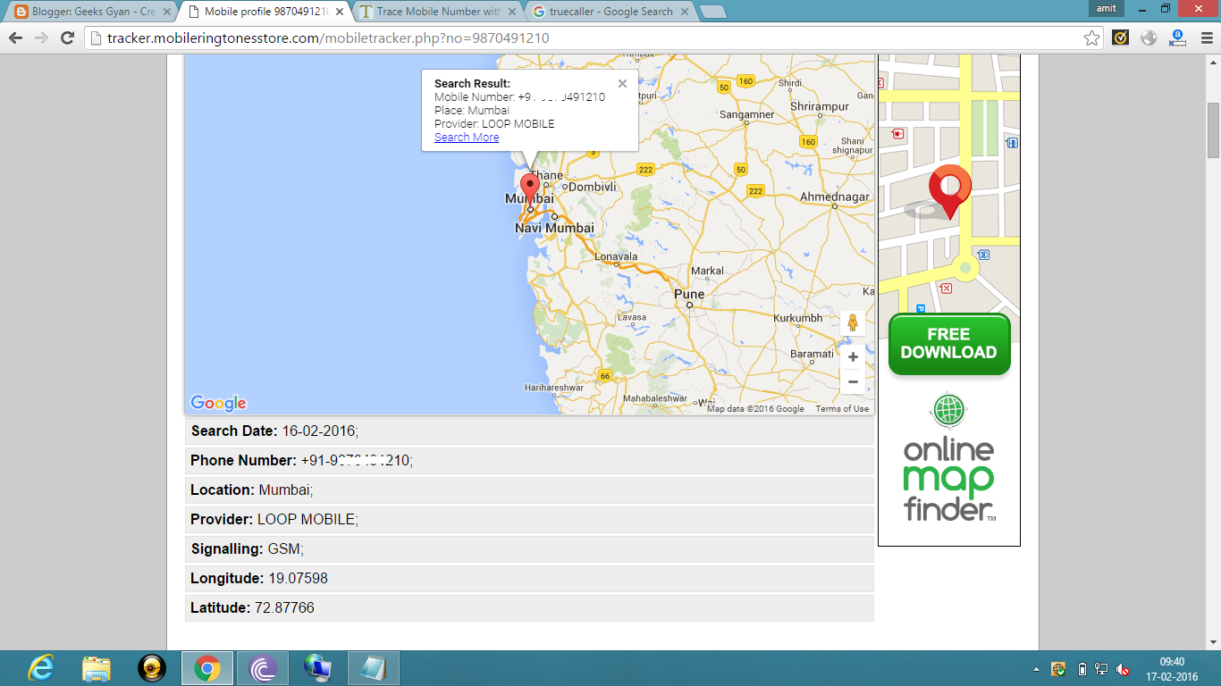 Track Any Mobile Number with Exact Location,Operator And Owner's Name