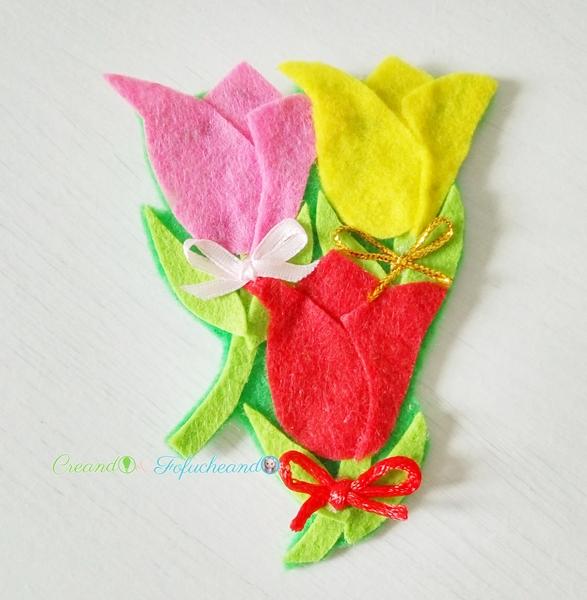 Broche-de- tulipanes-3-ideas-faciles-para-el-dia-de-la-madre-manualidades-con-fieltro-creandoyfofucheando