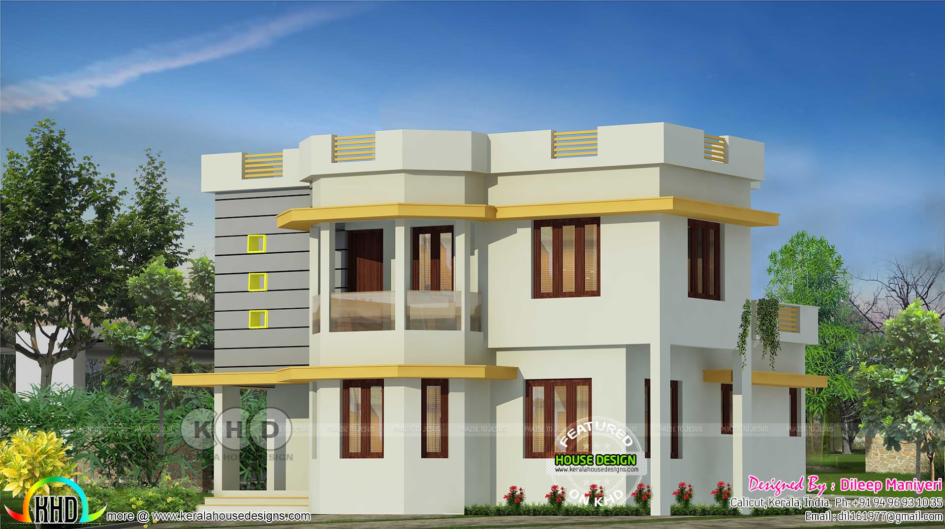 4 bedroom simple modern kerala house kerala home design for Four bedroom kerala house plans