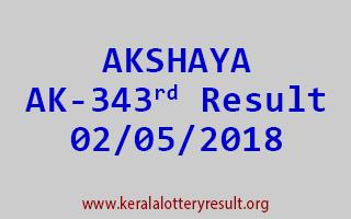 AKSHAYA Lottery AK 343 Result 02-05-2018