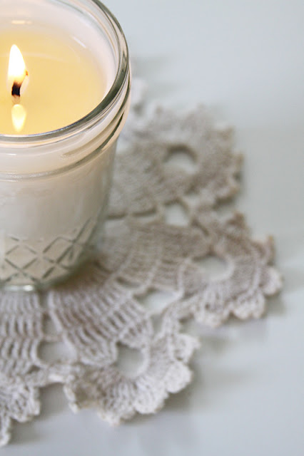 simple joys, simple beauty, home made candle, candle, doily, Anne Butera, My Giant Strawberry