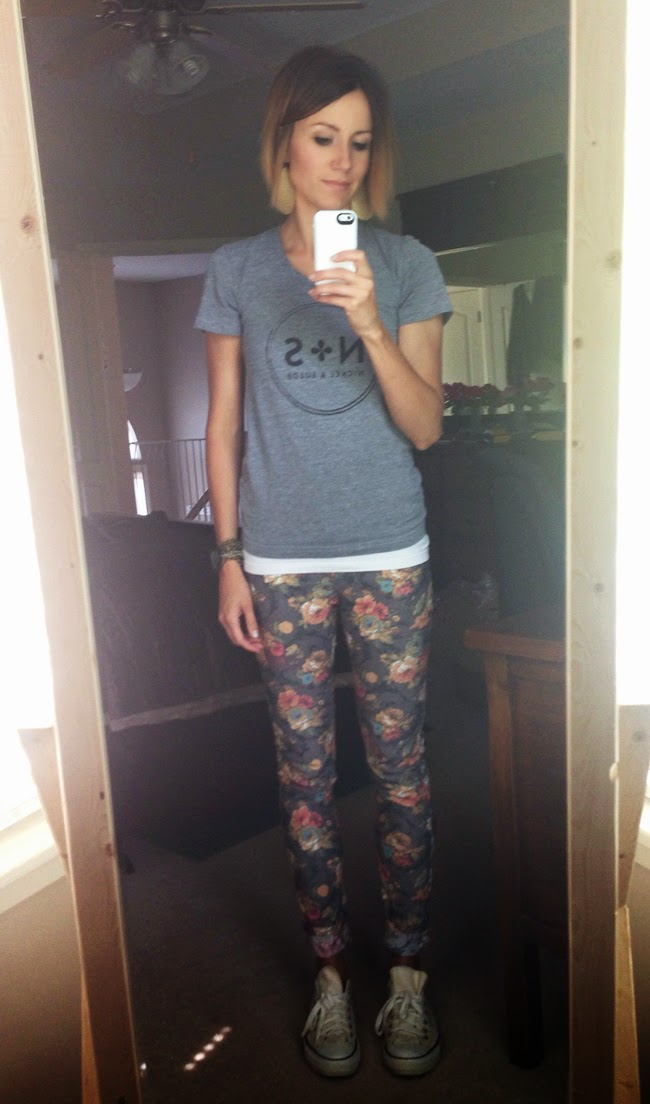 Graphic tee, floral denim, and Converse
