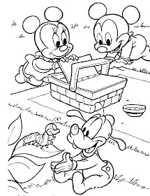 Cartoon Design Baby Mickey Mouse And Minnie Mouse Coloring Pages
