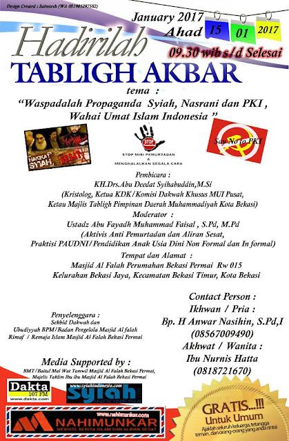 Hadirilah! Tabligh Akbar Mewaspadai Propaganda Syiah, Kristen dan PKI di Bekasi