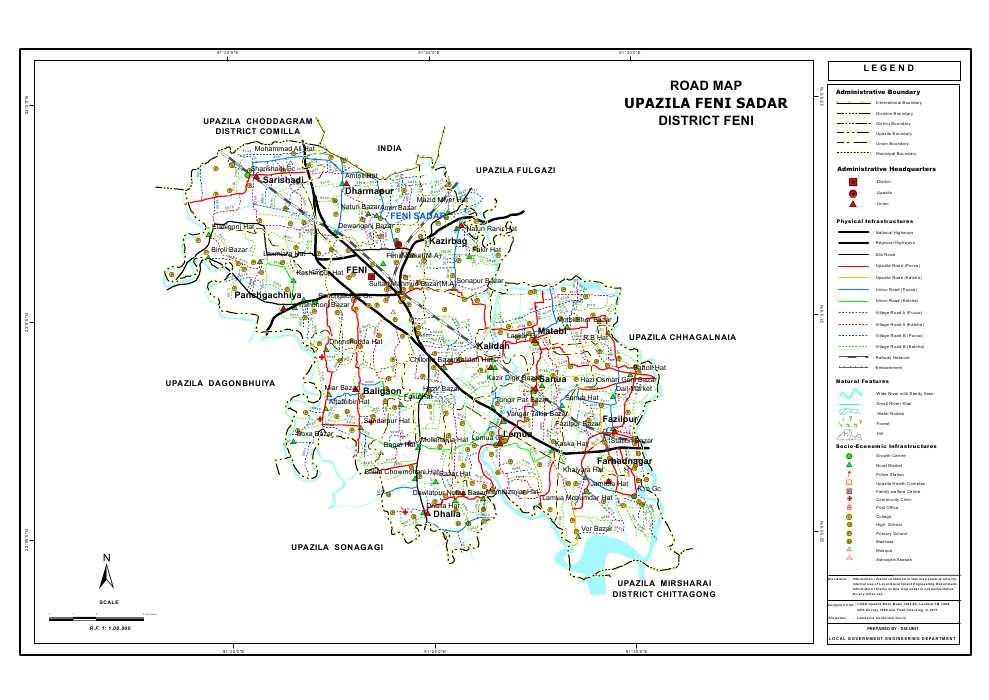 Feni Sadar Upazila Road Map Feni District Bangladesh