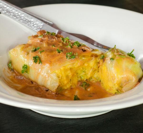 Healthier vegetarian stuffed cabbage rolls