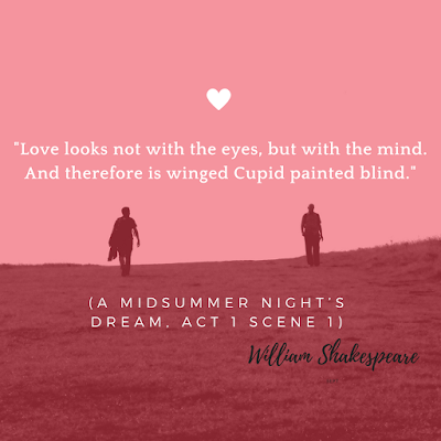 Midsummer Night's Dream Love Quote: White text on pink background