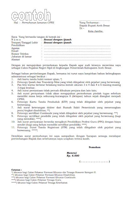 Surat lamaran cpns Pemkab Aceh Besar terbaru 2018