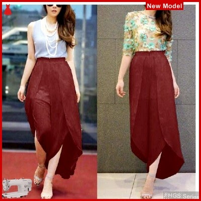 FHGS9197 Model Pants Osella Maroon, Wolly Celana Perempuan Crepe BMG