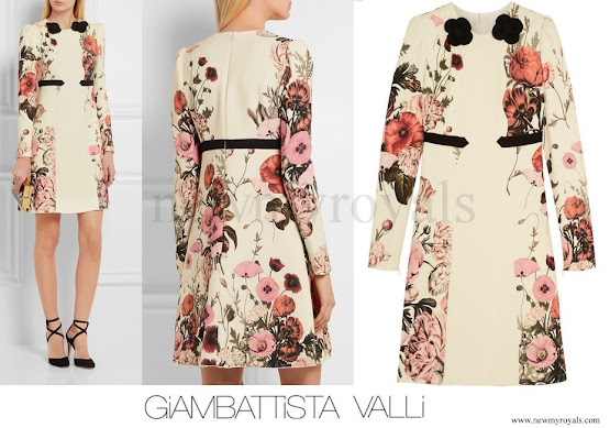 Princess Madeleine wore GIAMBATTISTA VALLI Appliquéd printed crepe mini dress