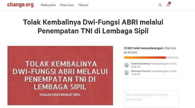 Rezim Jokowi Mendapat Petisi TOLAK KEMBALINYA DWI FUNGSI TNI, Puluhan Ribu Sudah Tandatangan