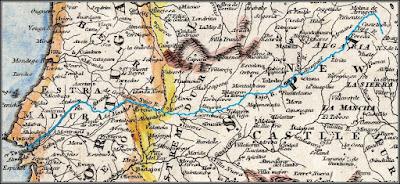 Mapa antiguo en el que destaca el trazado del río Tajo