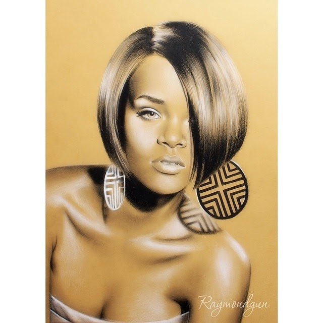 13-Rihanna-Raymond-Gunawan-Minimalist-Celebrity-Drawings-mostly-Black-and-White-www-designstack-co