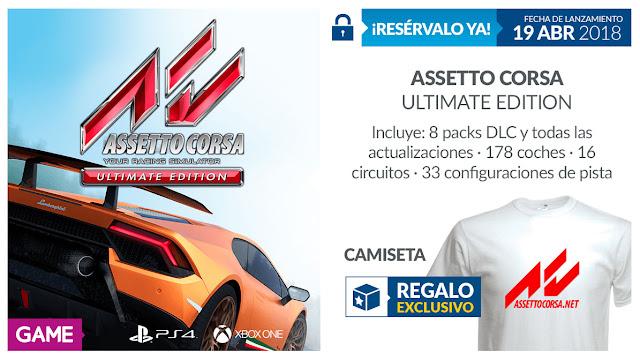 Reserva en GAME Asseto Corsa Ultimate Edition y llévate una camiseta de regalo