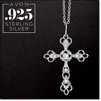 Avon Sterling Silver Ornate Cross Necklace