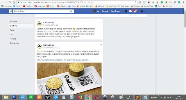 Pemberitahuan (penjelasan) dari halaman FB Kumpulbagi facebook