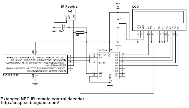 Extended NEC protocol decoder IR remote control circuit schematic PIC12F1822