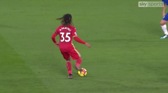 Renato Sanches passes to the advertising hoarding vs Chelsea