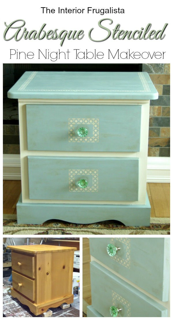 Arabesque Stenciled Pine Night Table Makeover