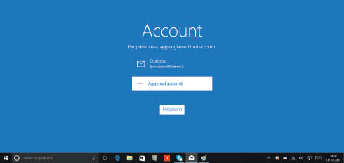 account per posta e calendario in windows 10