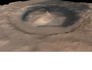 A mound of sedimentary rock rises nearly 5 kilometres high inside Mars's Gale crater (Image: NASA/JPL/Malin Space Science Systems)