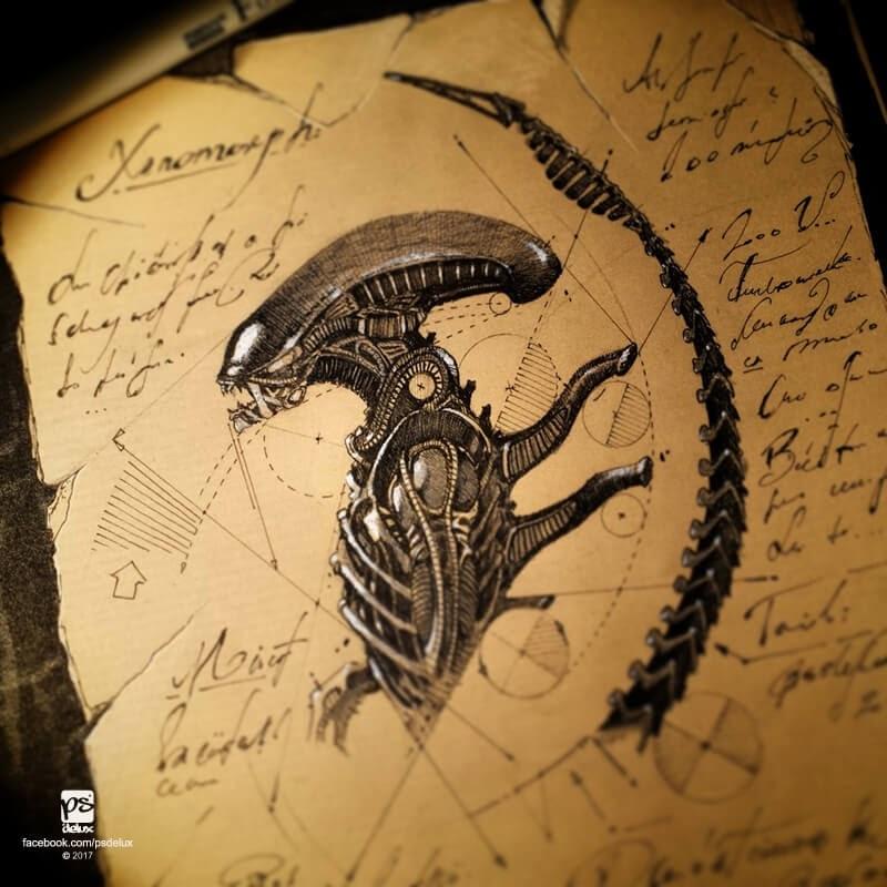 05-Xenomorph-Alien-psdelux-Geometric-Animal-Sketches-and-1-Alien-www-designstack-co
