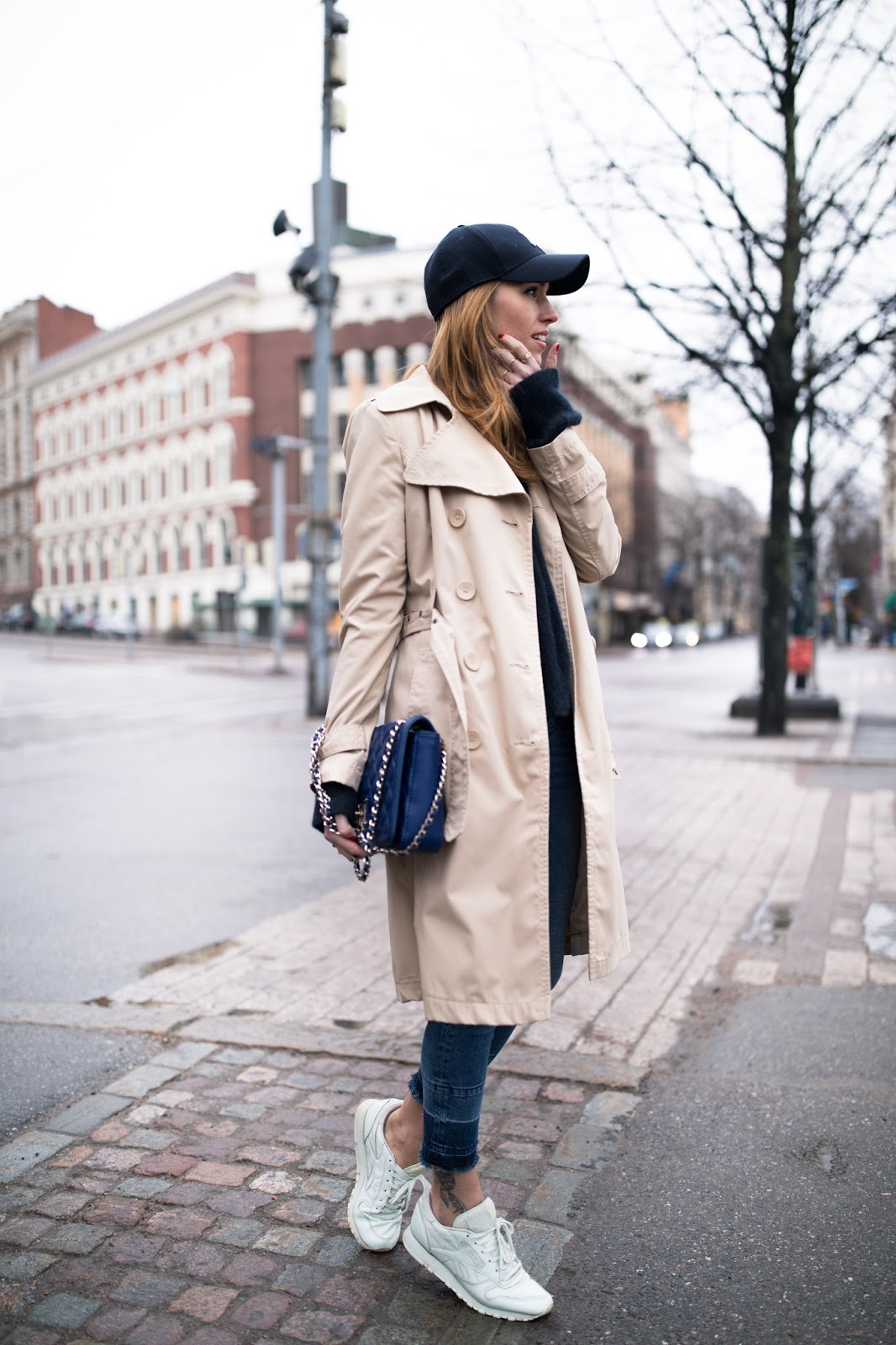 trench coat cap spring style outfit