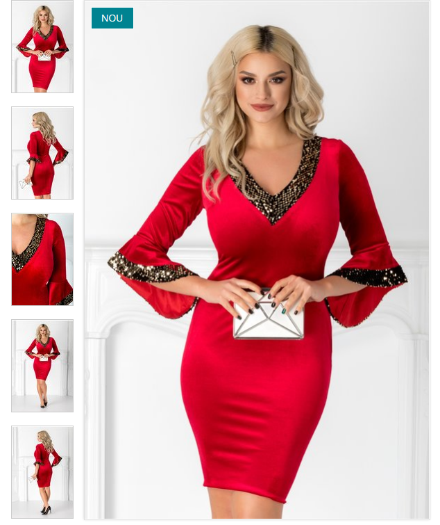 rochie rosie eleganta  testura din catifea  paiete la decolteu si maneci