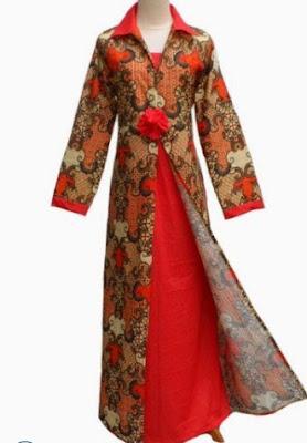 Model Baju Batik Kombinasi lengan panjang